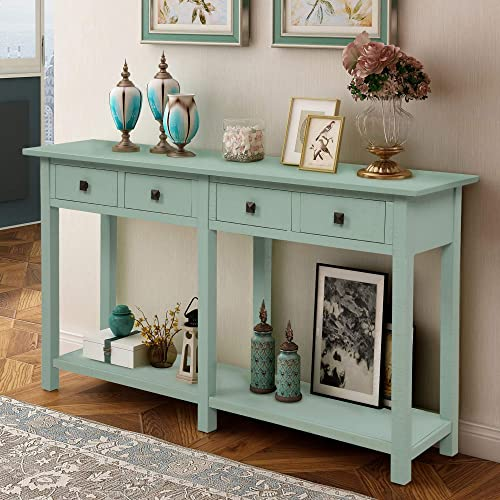 Retro Console Table Sofa Table for Entryway with Drawers and Shelf Living Room Sideboard Tiffany Blue
