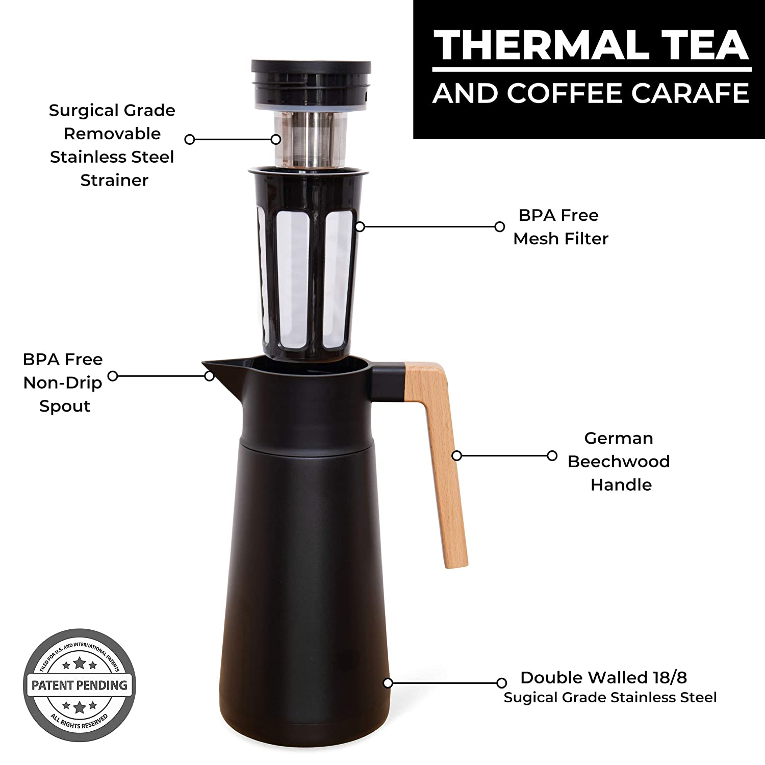 Large Thermal Coffee Carafe Vacuum Carafes With Removable Tea Infuser and Strainer Black Double Walled Thermal Pots For Coffee and Teas by Hastings Collective Stainless Steel 68 Oz.