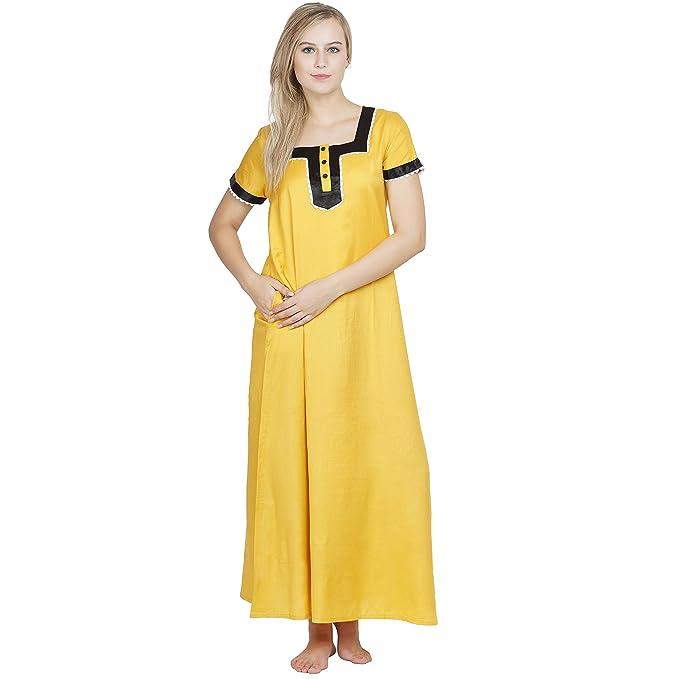 a1d32c00e747 PATRORNA Cotton Silk Blend Women Embellished A-Line Nighty Night Wear Night  Gown