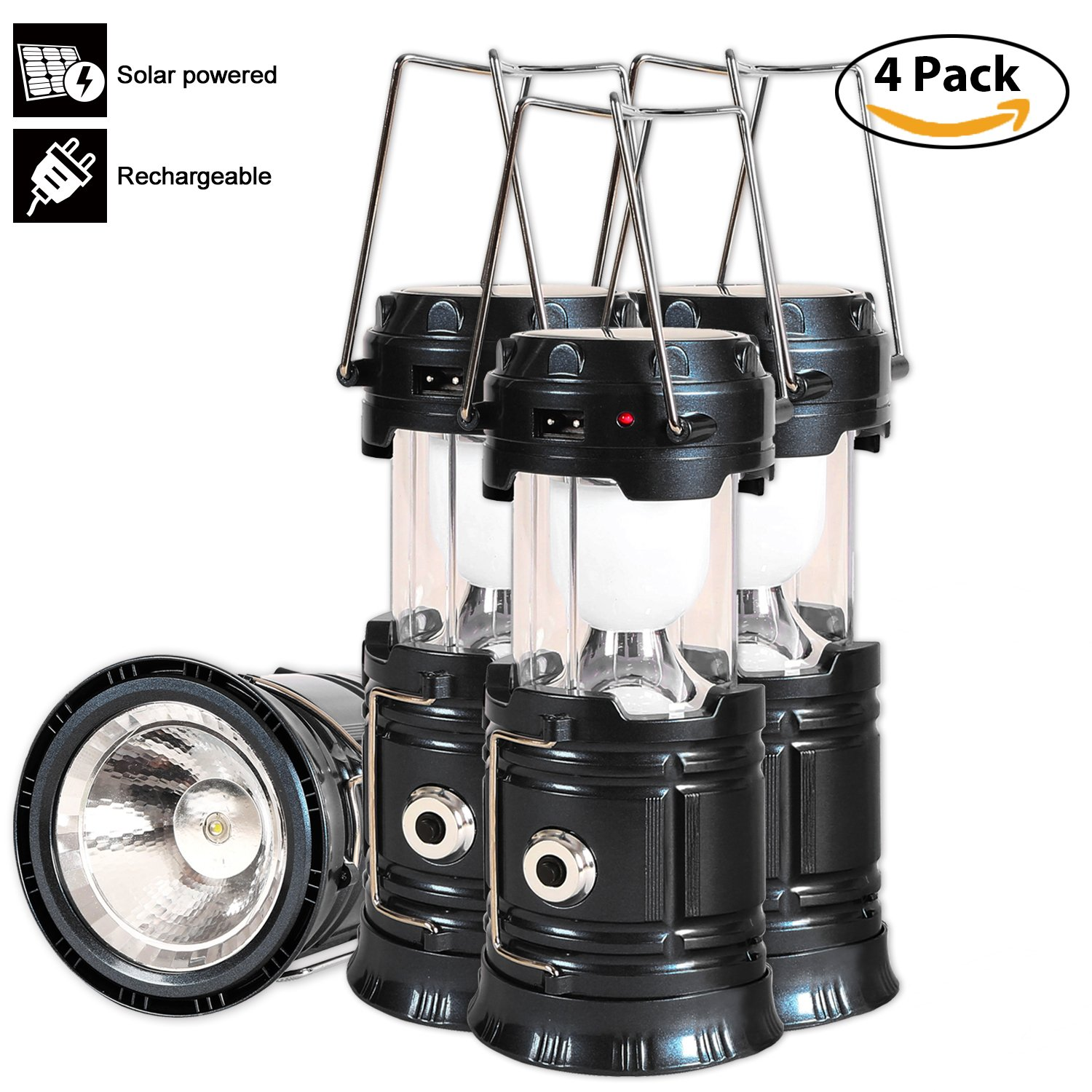 Solar Led Camping Lantern, 4 Pack Rechargeable Lantern Flashlight, Collapsible