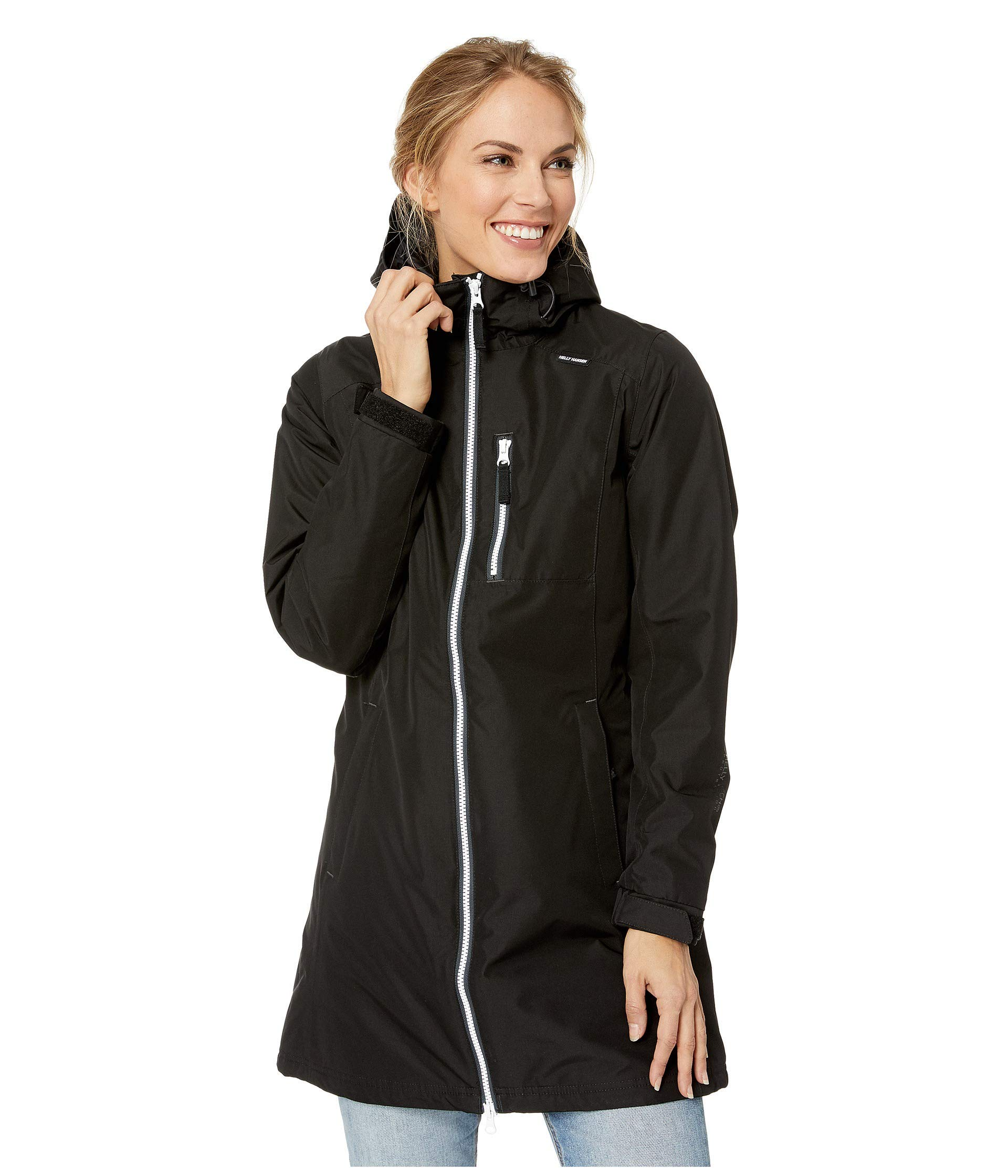 Helly Hansen Women's Long Belfast Insulated Waterproof Windproof Breathable Raincoat Jacket with Hood, 991 Black, Large by Helly Hansen