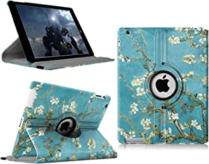 iPad 2/3/4 Case - 360 Degree Rotating Stand Smart Case Protective Cover with Auto Wake Up/Sleep Feature for Apple iPad 4, iPad 3 & iPad 2 (Blossom)