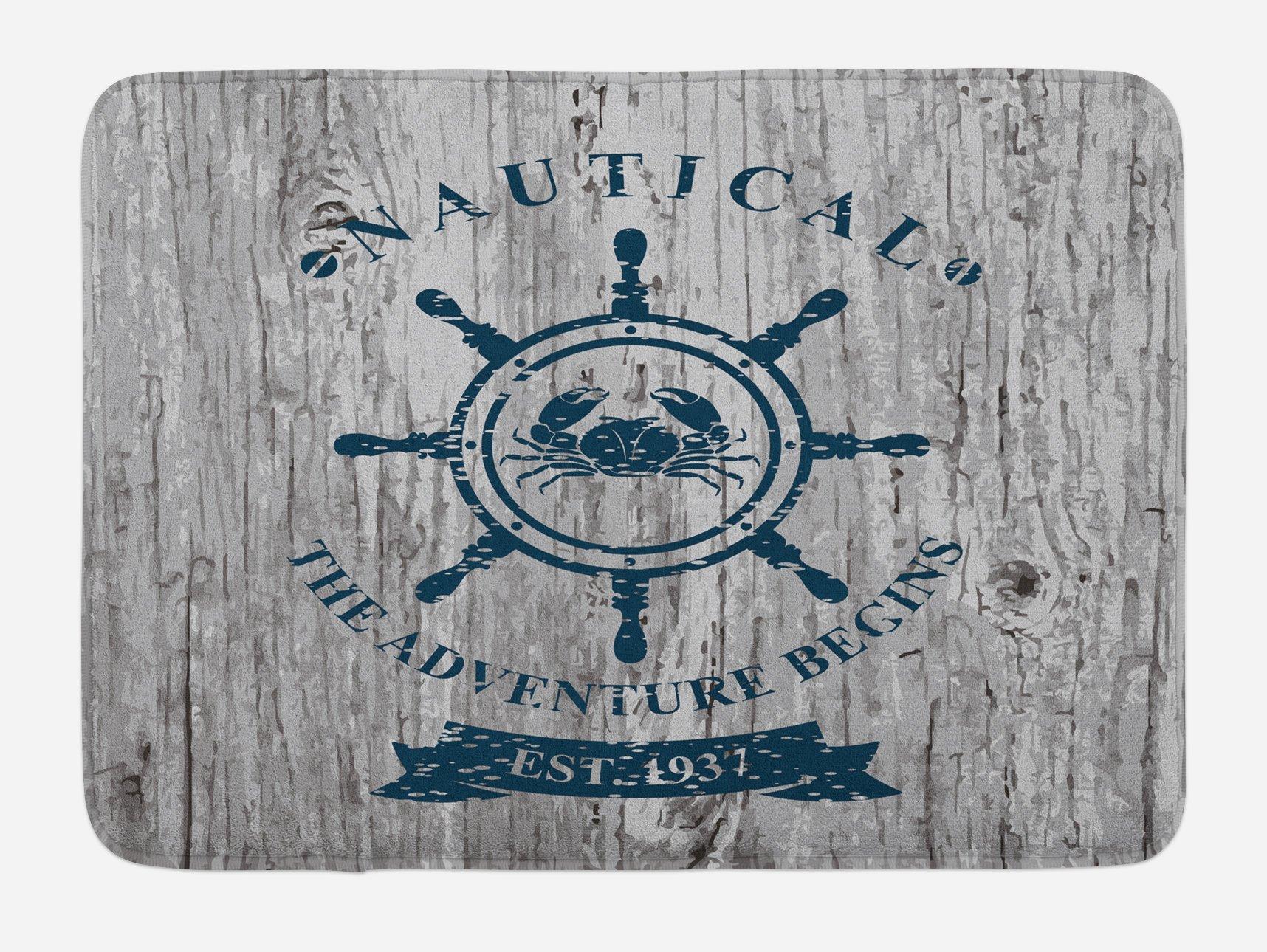 Lunarable Nautical Bath Mat, Crab Inside The Steering Wheel Symbol on Grunge Wood Planks Adventure Begins, Plush Bathroom Decor Mat with Non Slip Backing, 29.5 W X 17.5 W Inches, Grey Dark Blue