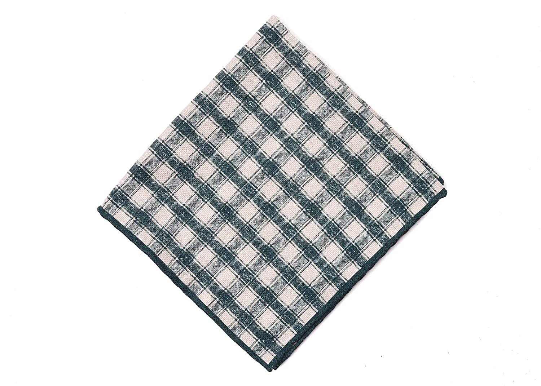 Brunello Cucinelli Mens Green Cotton Checkered Pocket Square One Size~Retail$225