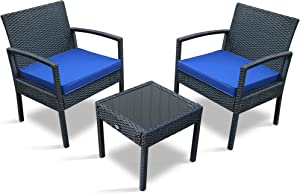 PAOLFOX 3 Pieces Patio Rattan Furniture Set,Outdoor Conversation Set w/Weather Resistant Cushions Tempered Glass Tabletop for Garden, Lawn Pool, Backyard, Poolside (Blue)
