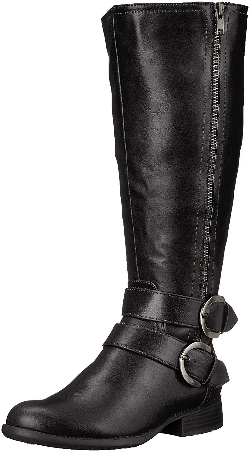 LifeStride Women's X-Must Riding Boot B01HD3N7QU 7 B(M) US|Black Tumbled