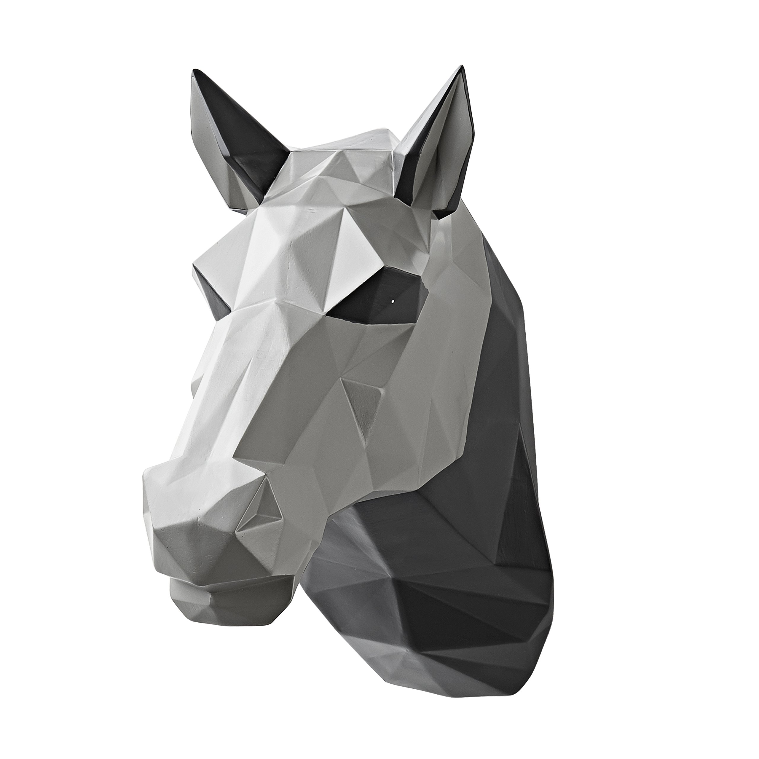 Vistella 3D Horse Head Wall Art Decor - Modern Origami Wall Mountable Resin Animal Head - Multi Tone Digital Pixel Design - Home Indoor Abstract Decorative Sculpture