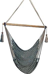 Handmade Hanging Rope Hammock Chair - 100% Handmade with Organic Cotton Swing Seat (Nautical)