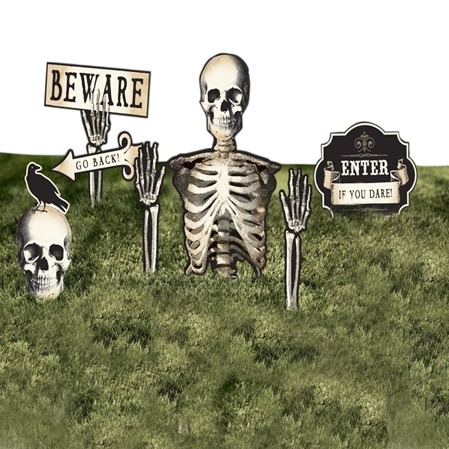 6 Pack of Halloween Lawn Decorations Boneyard Yard Grave Garden Sticks Skeletons Signs Halloween Outdoor Party Decoration Fancy Dress VIP