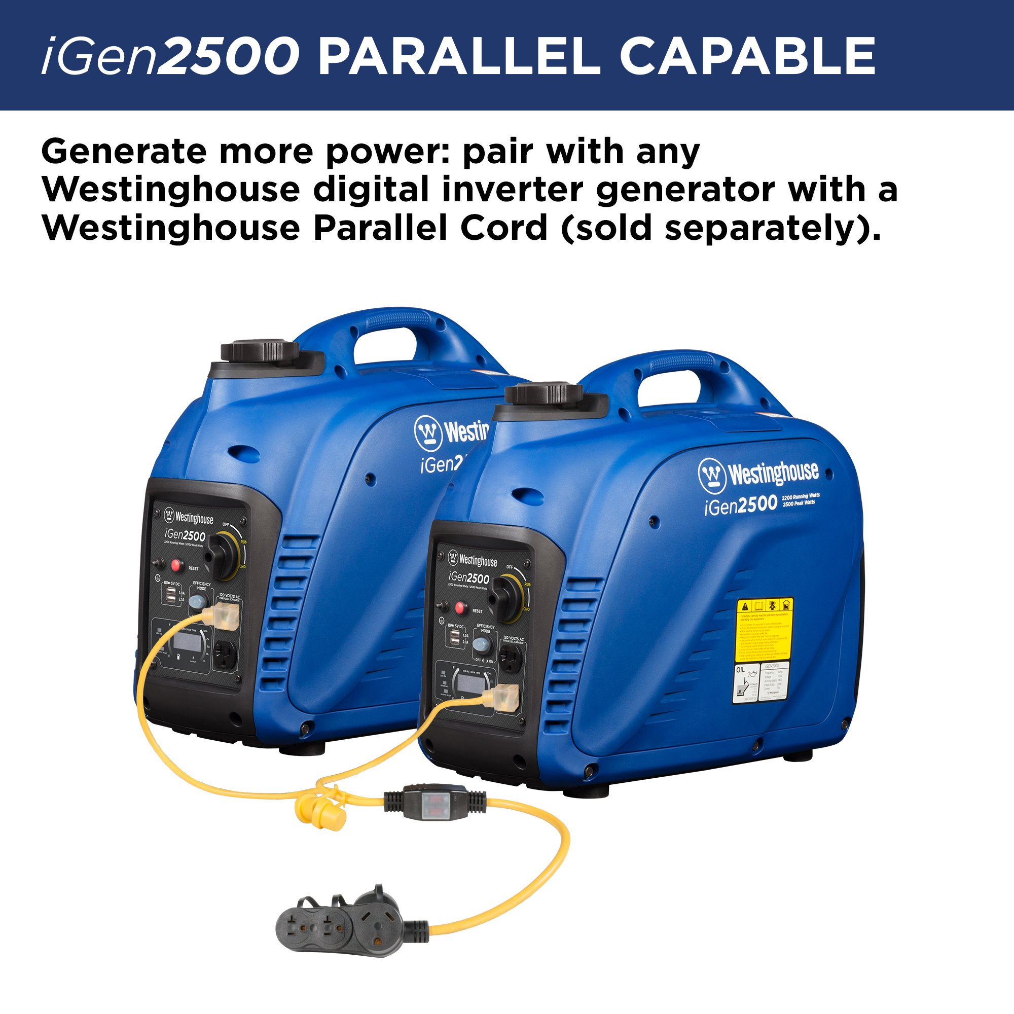 Westinghouse iGen2500 Portable Inverter Generator - 2200 Rated Watts & 2500 Peak Watts - Gas Powered - CARB Compliant by Westinghouse (Image #6)