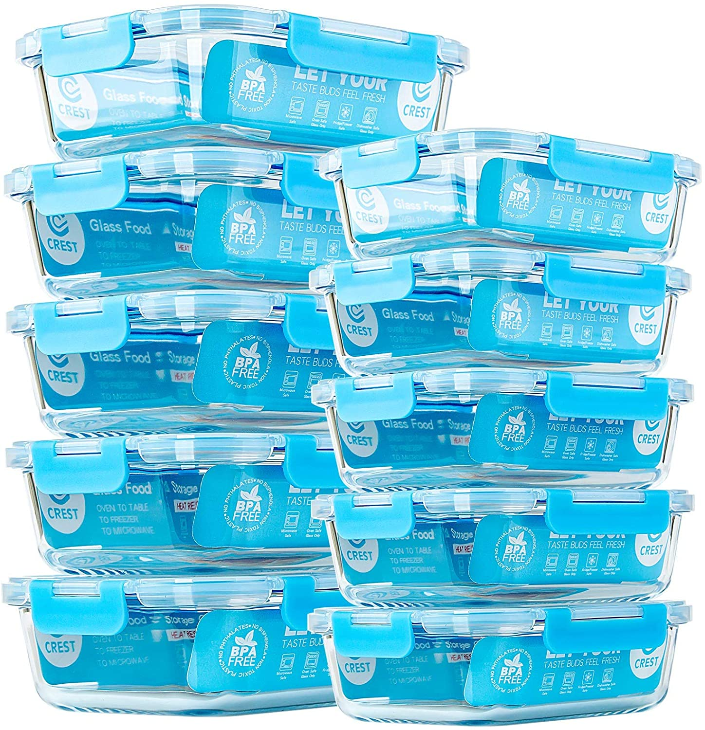C CREST 10 Pack Glass Meal Prep Containers $34 Coupon