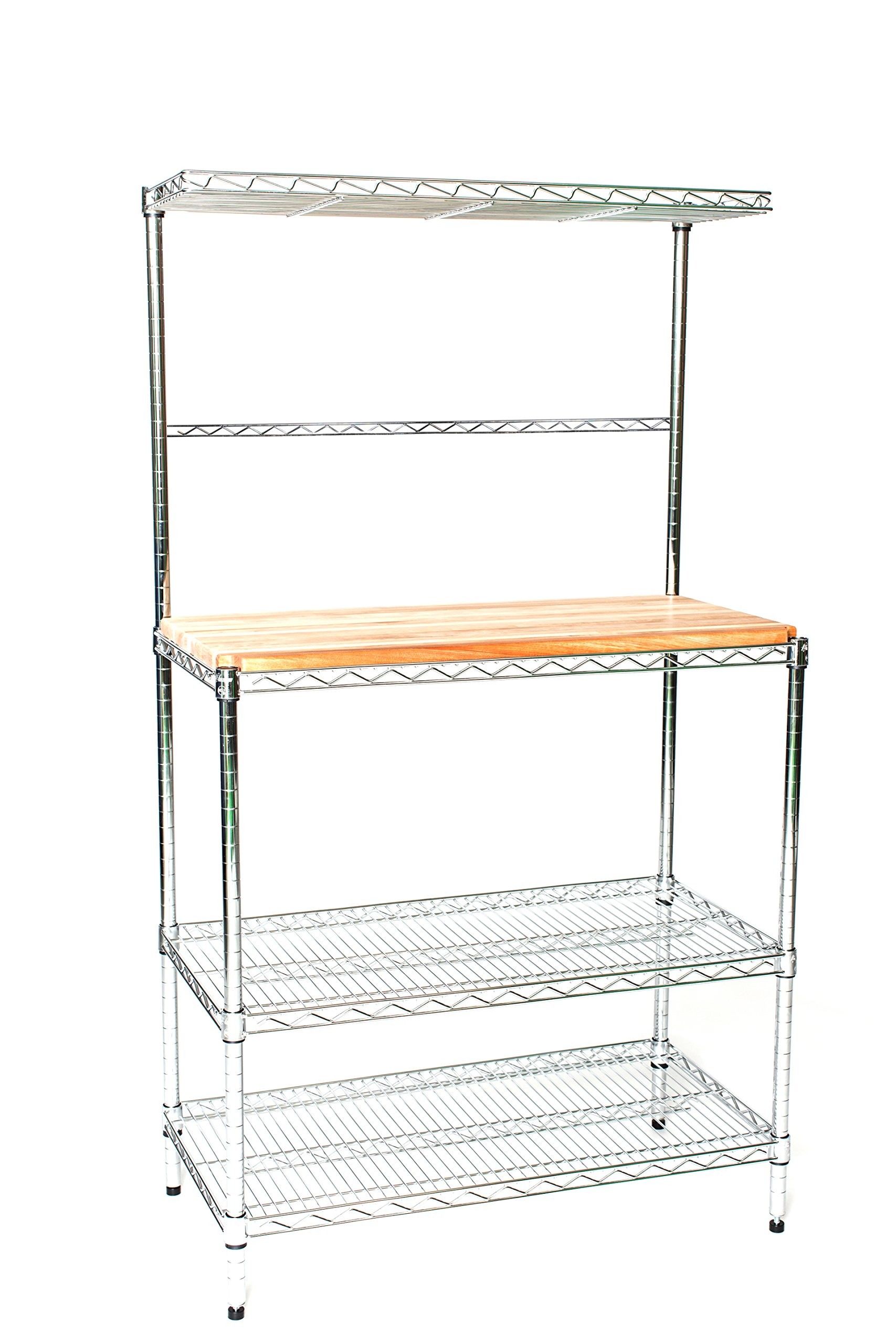 Omega 21'' Deep x 36'' Wide x 63'' High Deluxe Chrome Bakers Rack with Top Shelf & Butcher Block