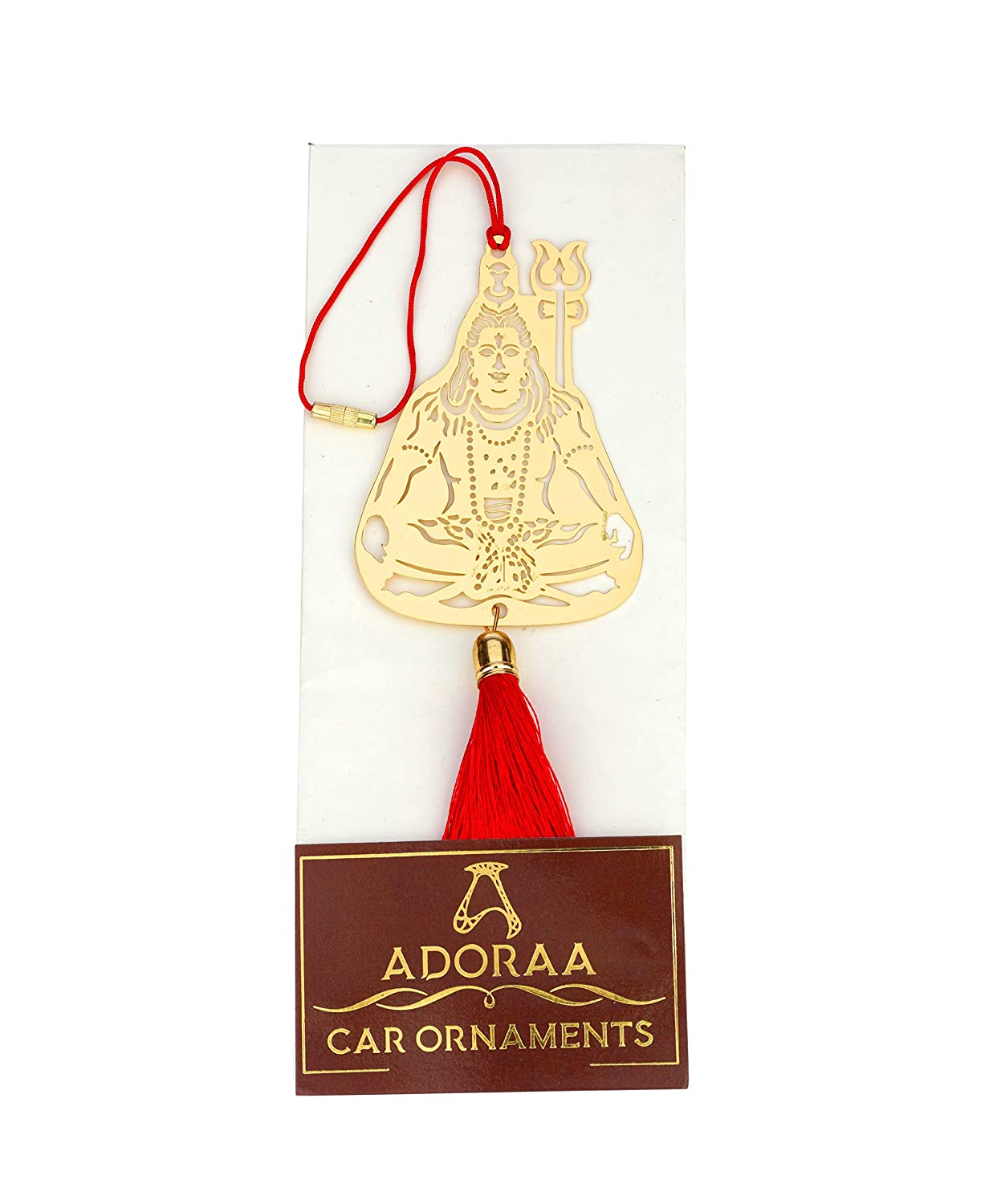 ADORAA Handcrafted Shiva//Shivji//Mahadev//Bholenath Rear View Mirror Car Hanging Ornament//Car Pendant//Amulet for car Divinive Blessings and Transcending Horizons Pvt Ltd Perfect Car Charm//Accessories for Car D/écor in Brass