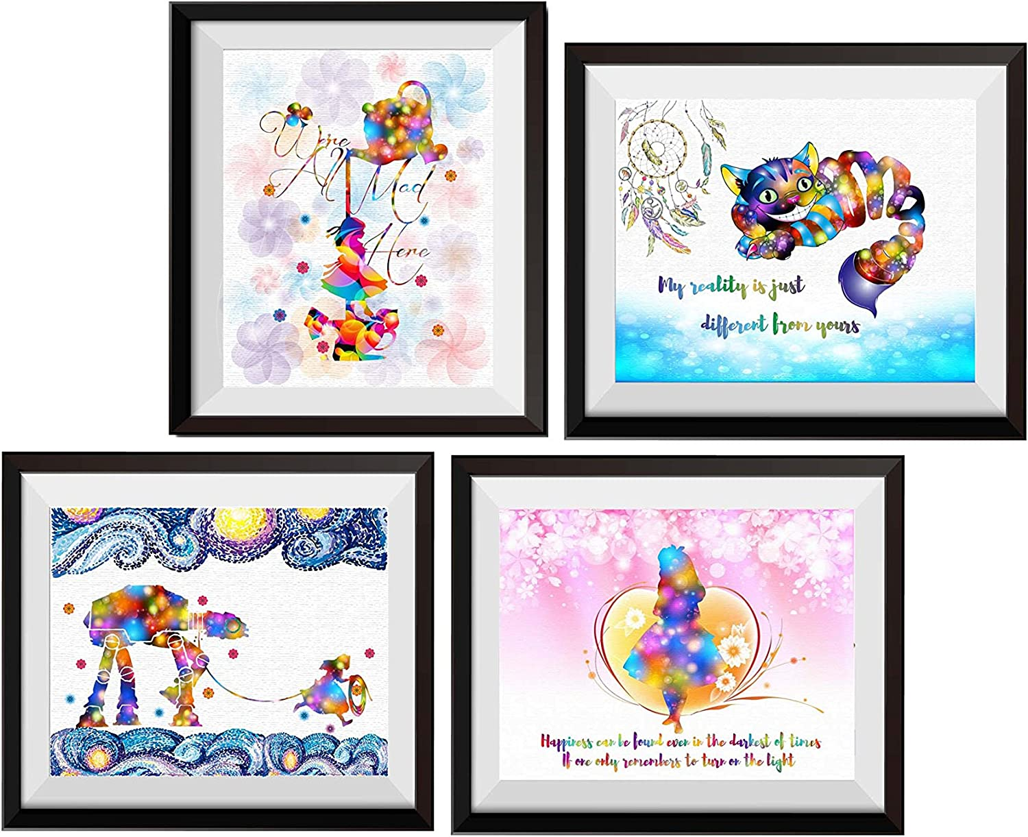 Uhomate 4 pcs Set Alice in Wonderland Cheshire Cat Alice Wonderland Abstract Art Canvas Wall Art Baby Gift Inspirational Quotes Wall Decor for Living Room Bedroom M031 (5X7)