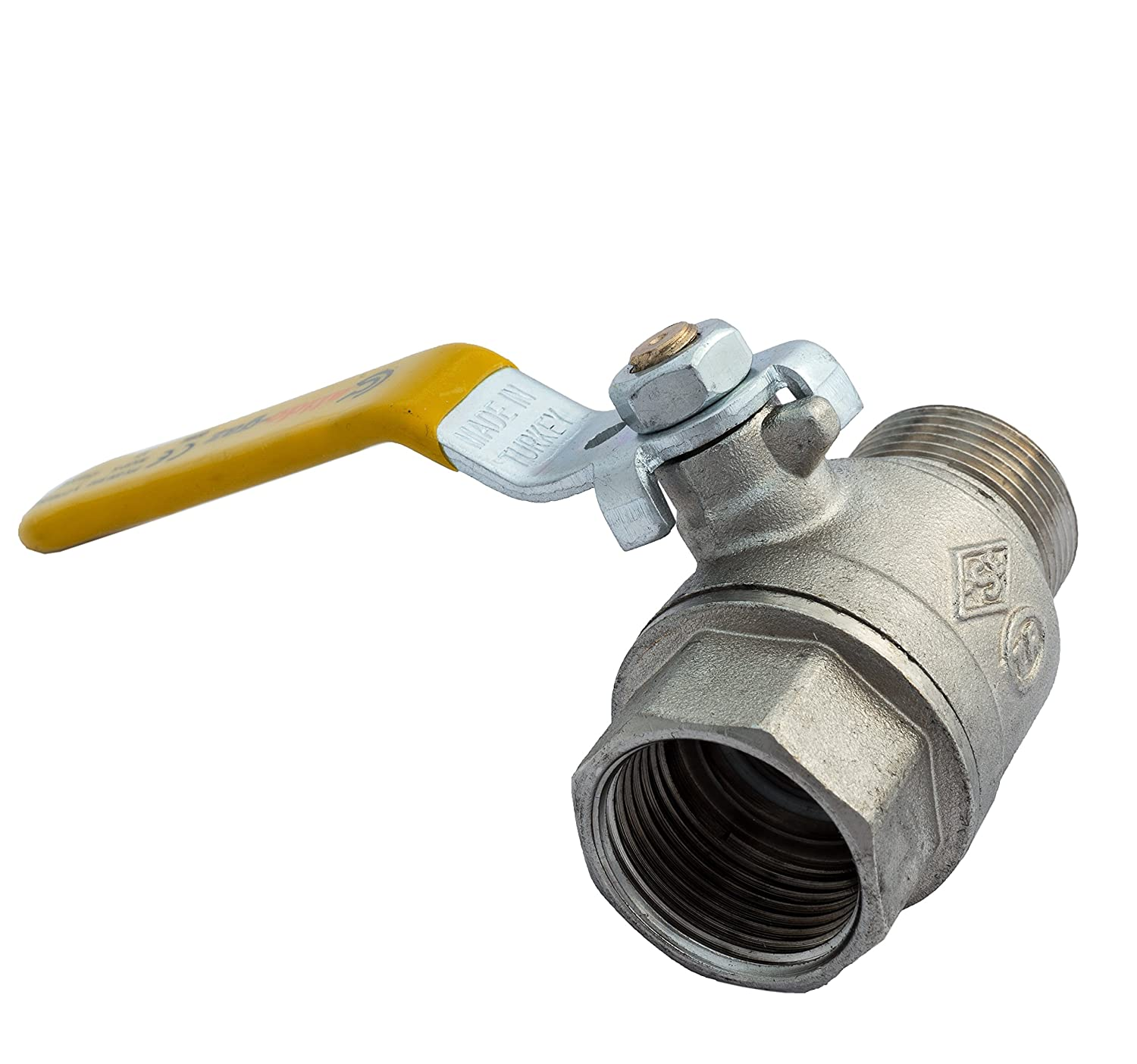 3/4' Gas Ball Valve FEMALE X MALE BSP TF with Yellow Lever Handle BFG