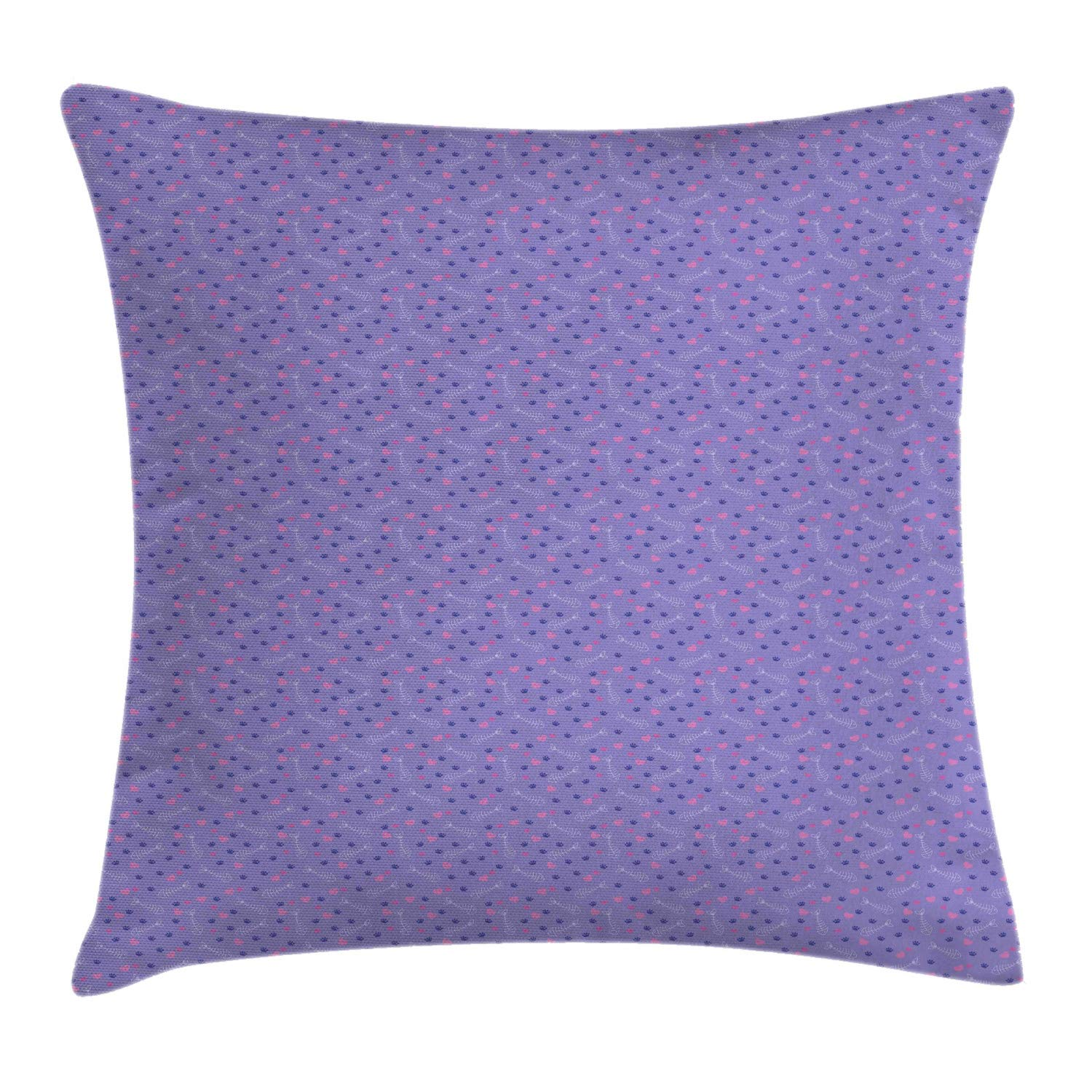 Lunarable Animal Print Throw Pillow Cushion Cover, Pattern with Cat Tracks Fish Bones and Hearts Kids Nursery, Decorative Square Accent Pillow Case, 26'' X 26'', Violet Pink Dark Blue White by Lunarable