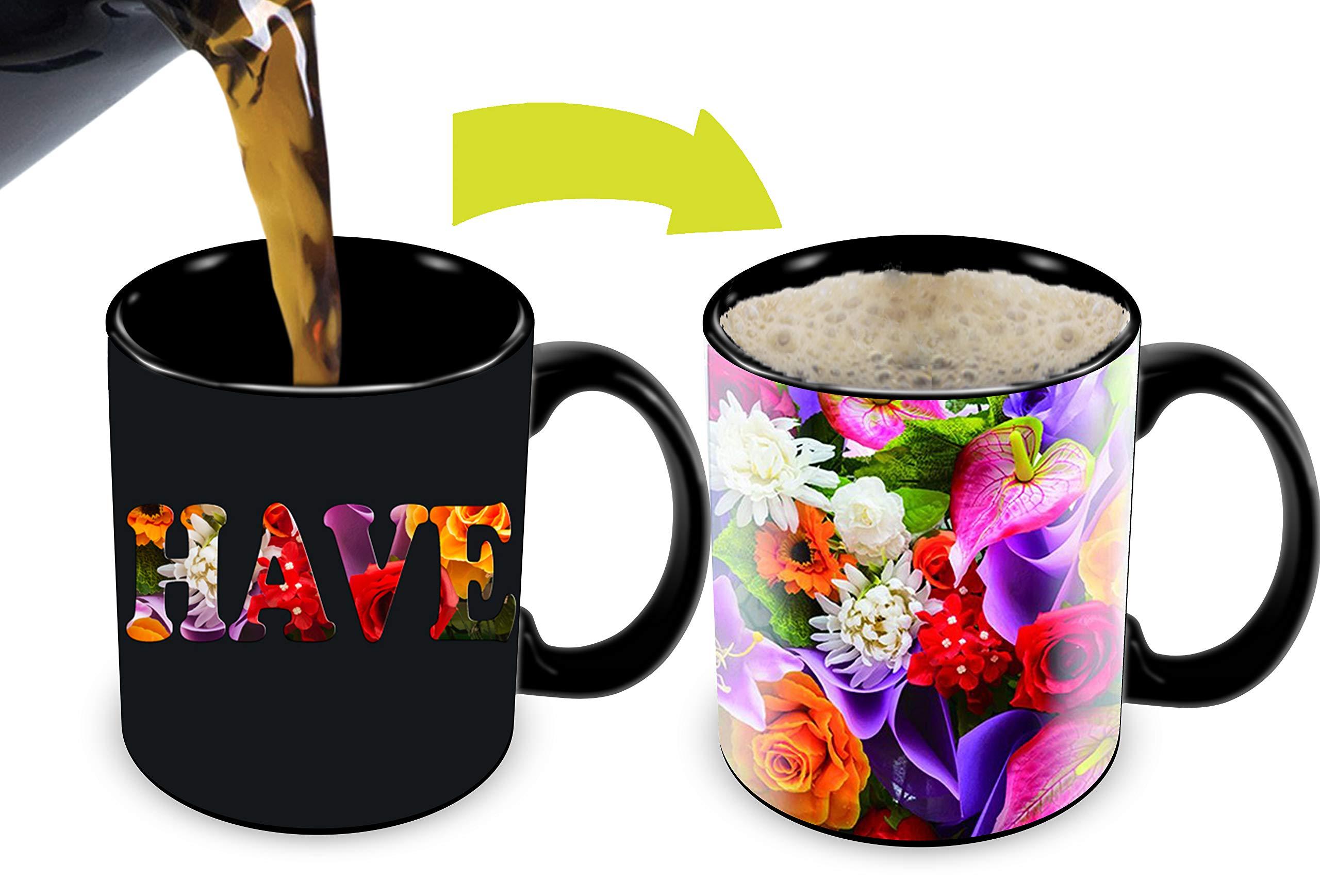 Heat Sensitive Mug | Color Changing Coffee Mug | Funny Coffee Cup | Have A Nice Day Flowers Design 11oz 100% Ceramic Black Mug