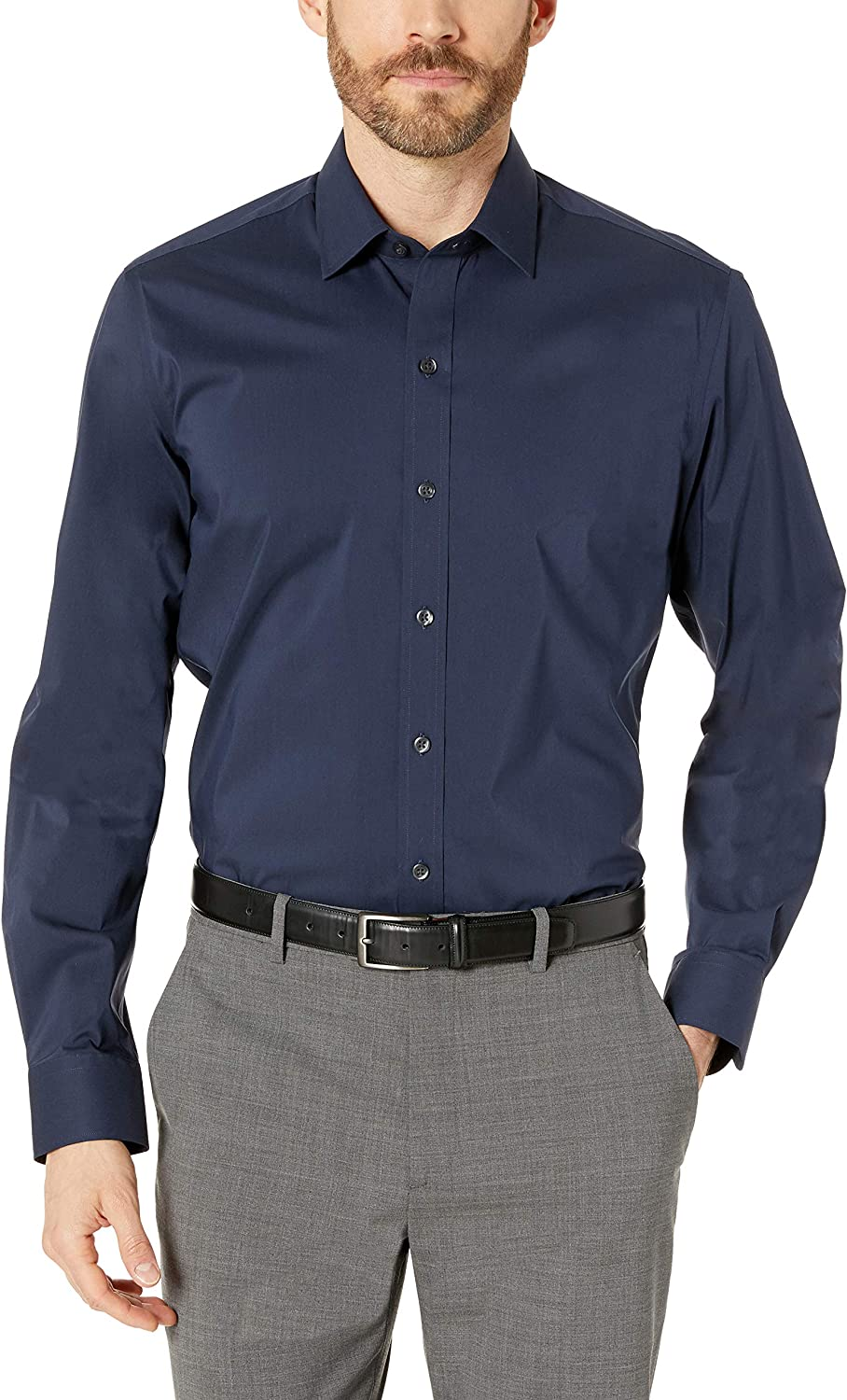 Brand BUTTONED DOWN Mens Slim Fit Performance Tech Stretch Dress Shirt Supima Cotton Easy Care