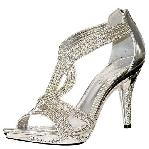 efde8f8e1f1 Rock on Styles NEW Ladies Silver Party Prom Bridal Sparkly Diamante Ankle  Straps Low Mid Heel