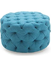 Round Ottoman Blue, This Round Tufted Ottoman Features a Textured Appeal! This Turquoise Ottoman Is Bright in Teal and Made with Quality Fabric!