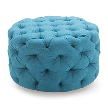 Fantastic Amazon Com Round Ottoman Blue This Round Tufted Ottoman Andrewgaddart Wooden Chair Designs For Living Room Andrewgaddartcom