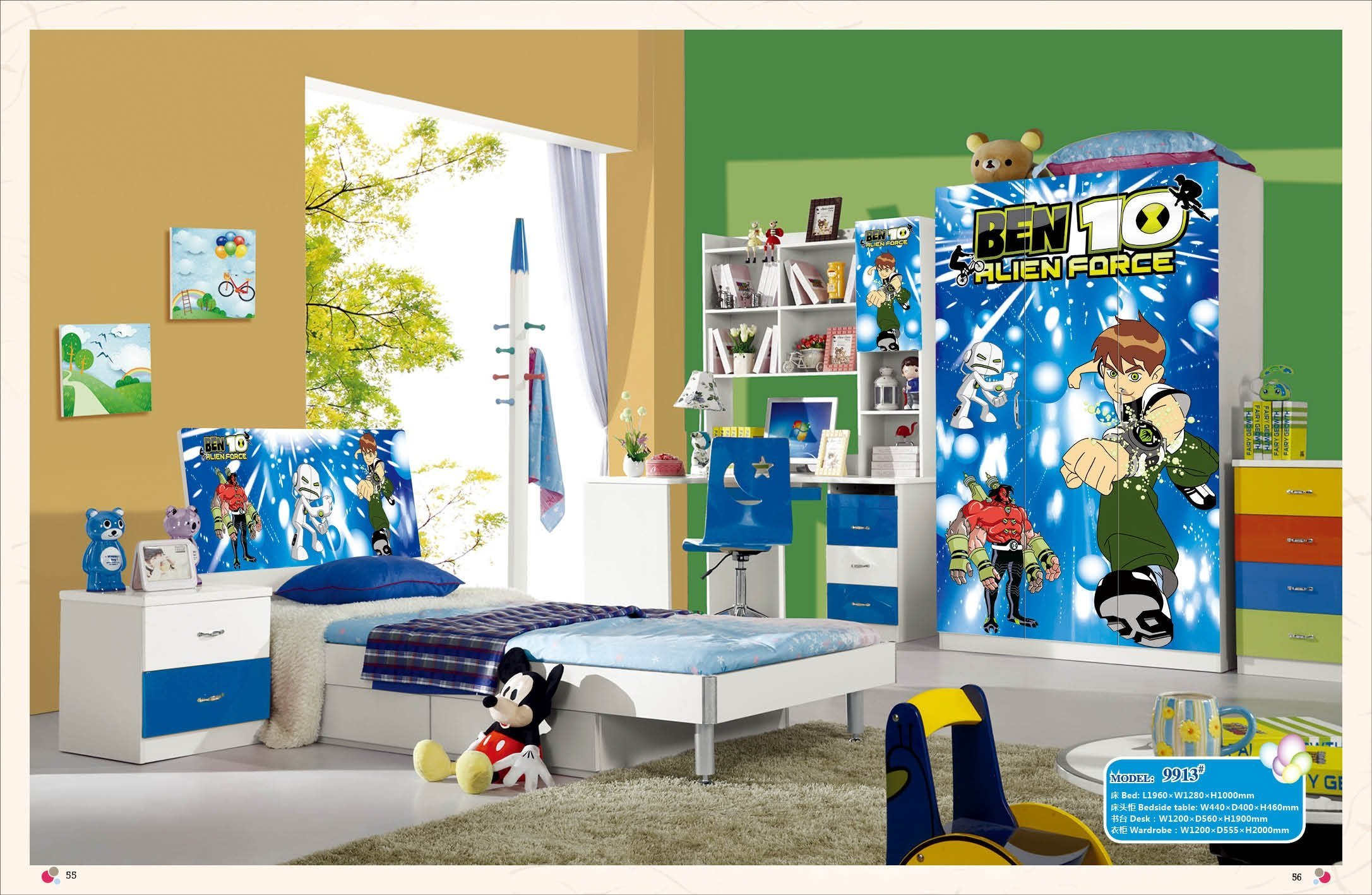 Loft Bed Set Kids Table And Chair Wood Kindergarten Furniture – Blue Theme
