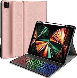 iPad Pro 12.9 inch 2021 Case with Keyboard - JUQITECH Backlit Wireless Detachable Keyboard Case for iPad Pro 12.9