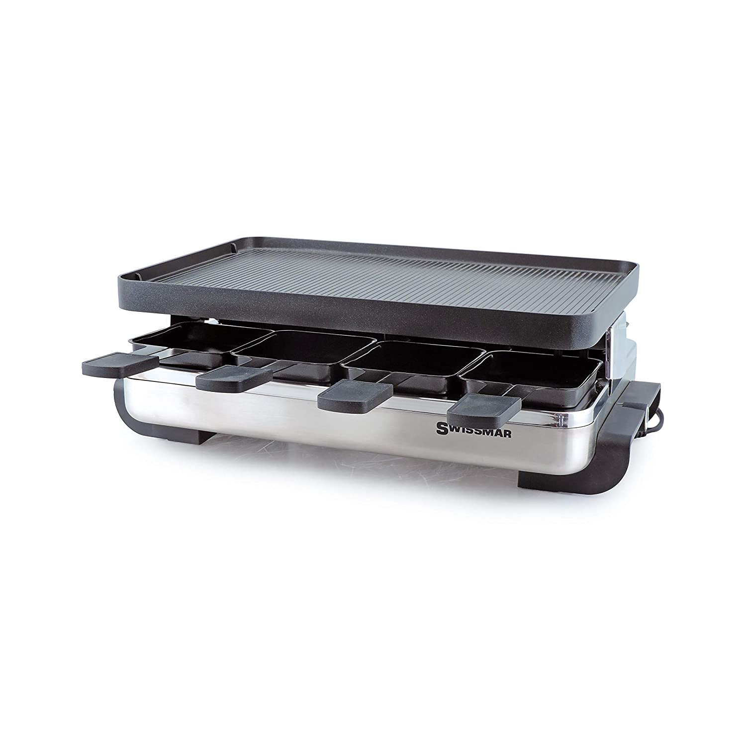 Swissmar KF-77080 Stelvio 8-Person Raclette with Reversible Cast Aluminum Non-Stick Grill Plate Crepe Top, Brushed Stainless Steel