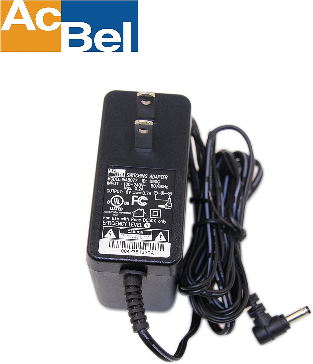 AcBel WA8077 D90G 6V 0.7A AC/DC Adapter Power Supply Charger for Pace  DC50X: Amazon.ca: ElectronicsAmazon.ca