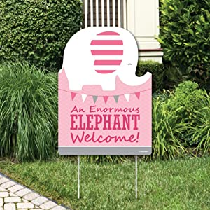 Big Dot of Happiness Pink Elephant - Party Decorations - Girl Baby Shower or Birthday Party Welcome Yard Sign