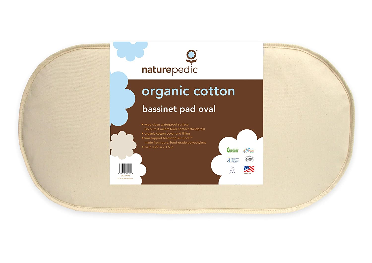Naturepedic Organic Cotton Bassinet Oval Pad