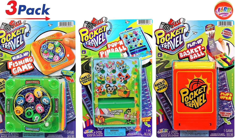 JA-RU ポケットトラベルゲーム バンドルセットとバウンシーボールバンドル 三目並べ 磁気面 釣りアイテム 3 Games 3205, 3256, 3257 3 Games  B07NH8BMVZ