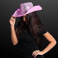 FlashingBlinkyLights Pink Sequin Light Up LED Cowboy Hat