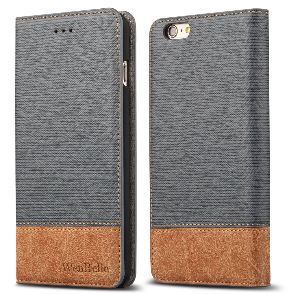 iPhone 6s Plus 5.5'' Wallet case,WenBelle [Blazers Series] Wallet-Style,Stand Feature, isal Fabric and Leather-Look Design Wallet Cover Flip Cases For Apple iPhone 6 Plus / 6s Plus 5.5 inch,Grey