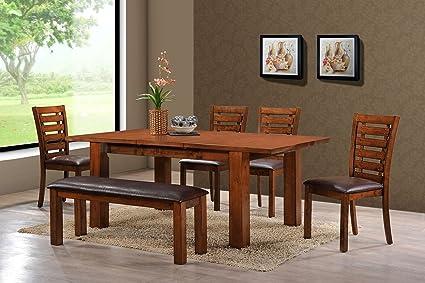 Amazon Com Holland House Pearington Dining Chair Bench Peacan Oak
