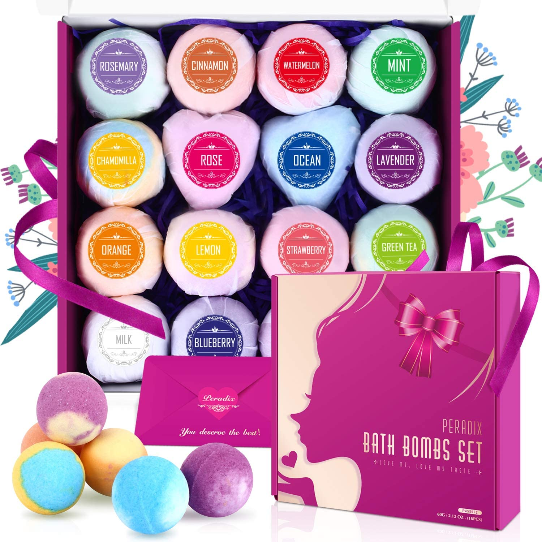 Peradix Bombas de Baño,16 piezas Bolas de Baño con Aceites Esenciales,Spa Baño de Burbujas para Hidratar la Piel Seca Sales de Baño de Bombas de Baño Espuma de Regalo para Mujeres Novias y Niñas