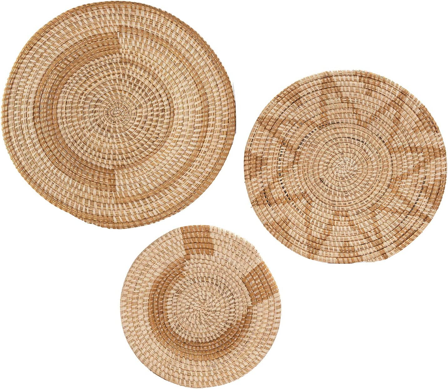 All Across Africa Wall Plate Set of 3, Boho Wall Decor, Natural Raffia Hanging Woven Wall Basket Decor with Easy Hang Loops - Butterum, Tan