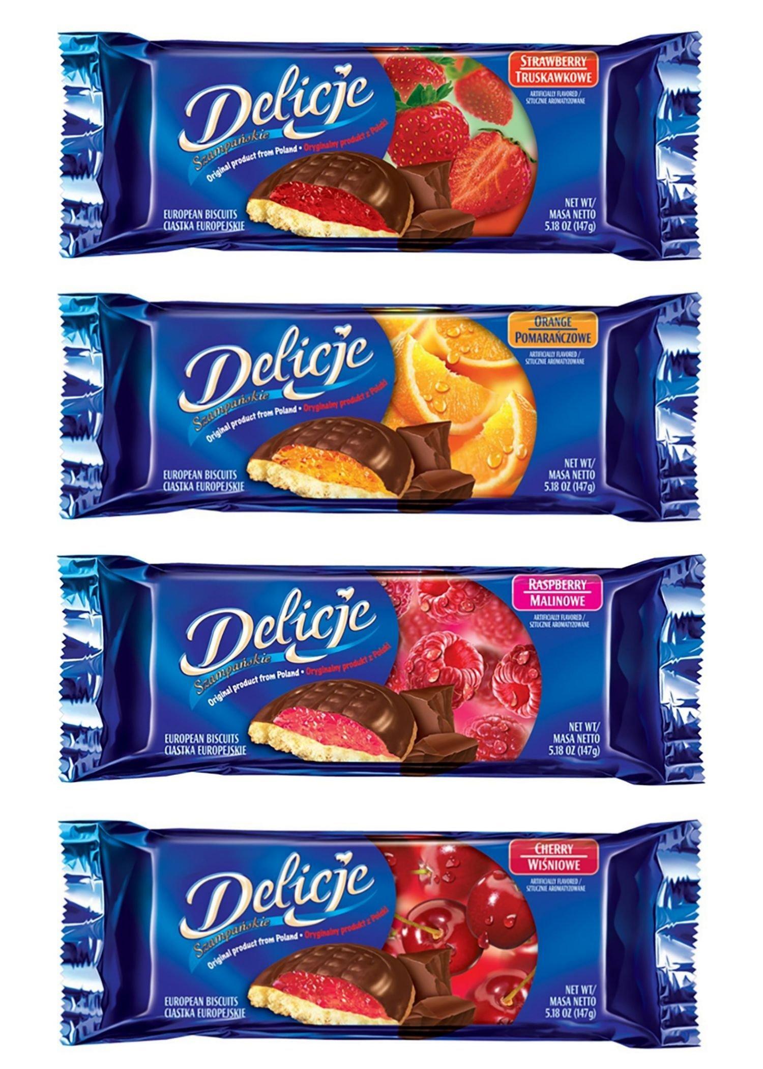 Delicje Variety Pack European Biscuits Strawberry, Orange, Raspberry, Cherry Filling