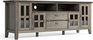 Simpli Home AXCHOL005-72GR Artisan Solid Wood 72 inch Wide Contemporary TV Media Stand in Distressed Grey For TVs up to 80 inches