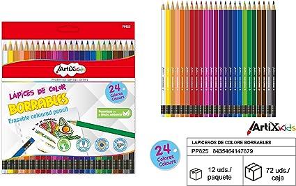 Set de 24 Lapices de colores BORRABLES Artix Kids: Amazon.es: Oficina y papelería