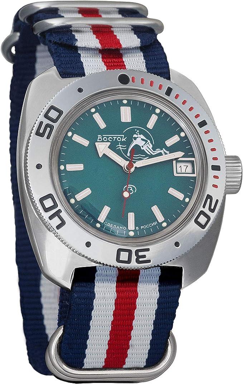 Amazon.com: Vostok Amphibian Automatic Self-Winding Russian Military Wristwatch #710059 (tricolor5): Watches