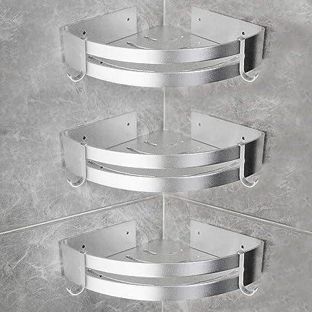 Yorbay Estantería de Esquina para Baño Ducha, Autoadhesivo, Aluminio, Acabado Mate, Estante triangular de baño,Estantes 3 Piezas Plata,Instalación sin ...