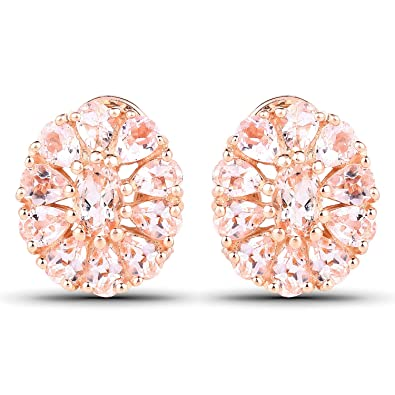 7bf055e6c Image Unavailable. Image not available for. Color: 3.11 Carats Genuine  Morganite Floral Stud Earrings Solid .925 Sterling Silver With 18KT Rose  Gold