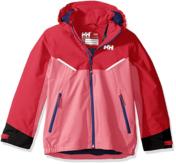 6d4fc701 Helly Hansen Kids Shelter Waterproof Rain Jacket Coat, 120 Pink Carnation,  Size 12