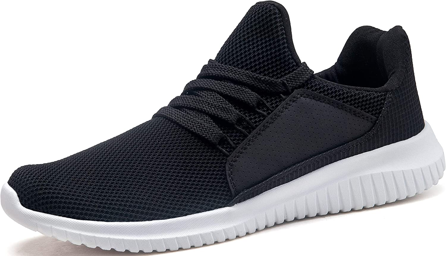 Krystory Women and Men Ultra Lightweight Athletic Shoes Casual Mesh Walking Sneakers Breathable Sport Running Shoes, Black White,8.5 M US Women 7 M US Men