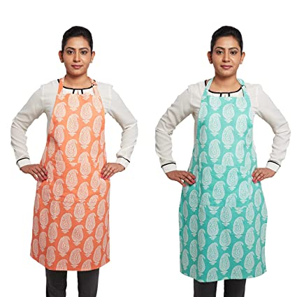 Amazon Brand - Solimo 100% Cotton Kitchen Apron Set, Paisley (Pack of 2, Orange and Blue)