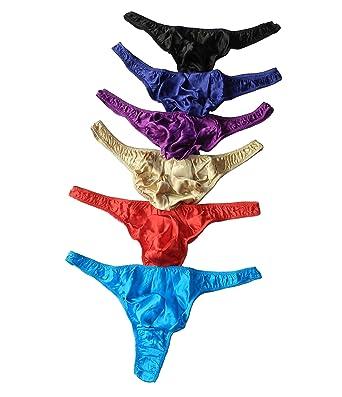3826ff7c4b1c Qianya Men's Silk Underwear Thong Silk Briefs Sexy 100% Silk 6 Pairs in One  Economic