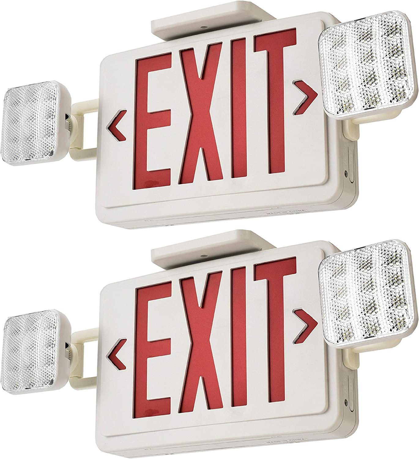 Sunco 2 Pack EMERGENCY EXIT SIGN Single//Double Face LED w// 2 Head Lights UL