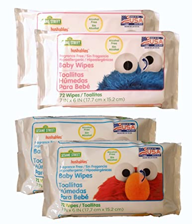 Sesame Street Hushables Hypoallergenic Baby Wipes 72 Count Set of 4 (Total 288 Wipes)