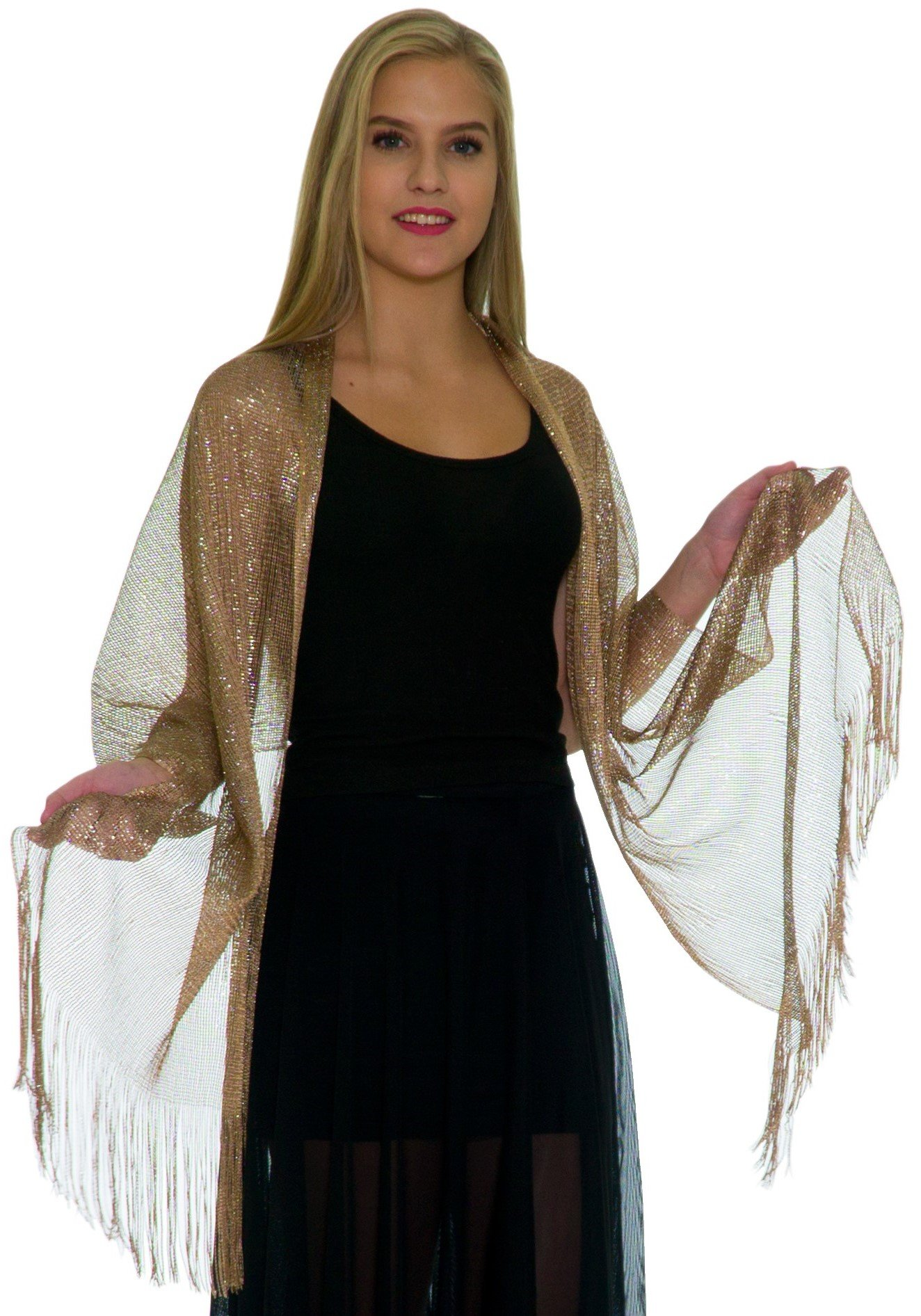 Shawls and Wraps for Evening Dresses - Womens Scarves for Prom, Wedding, Bridal, Party - Scarfs for Women with Fringe - Metallic Gold Scarf by Petal Rose by Petal Rose